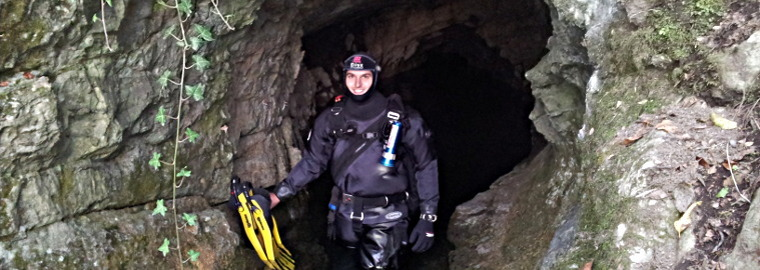SSI Instructor Trainer Sacha Bernasconi ready for a Cave Dive inside a Swiss Mountain